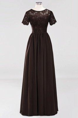 A-line Chiffon Lace Jewel Short-Sleeves Floor-length Bridesmaid Dress_11