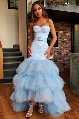 Mermaid Tulle Layers Strapless Sleeveless High-Low Prom Dress
