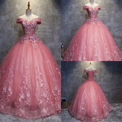 Elegant Off-The-Shoulder Ball gown Appliques Sleveless Floor-Length Lace-up Prom Dresses_1