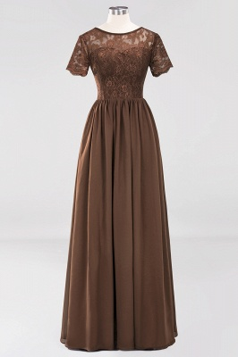 A-line Chiffon Lace Jewel Short-Sleeves Floor-length Bridesmaid Dress_12