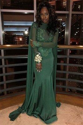 Stylish Round Neck Long Sleeves Appliques Mermaid Prom Dress BC0969_3