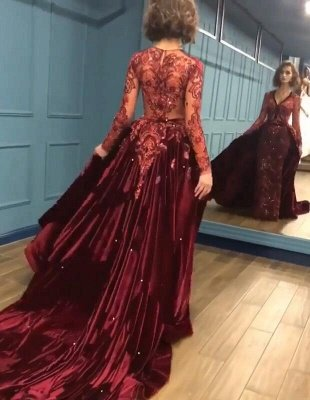 2020 Sparkle Beads Burgundy Velvet Long Sleeves Prom Dresses with Appliques BC0731_4