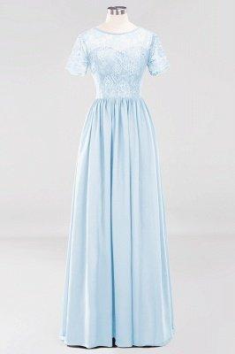 A-line Chiffon Lace Jewel Short-Sleeves Floor-length Bridesmaid Dress_22