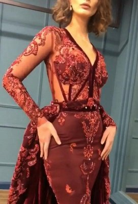 2020 Sparkle Beads Burgundy Velvet Long Sleeves Prom Dresses with Appliques BC0731_3