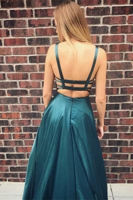 Glamorous Square Neck Straps Sleeveless A-Line Floor-Length Prom Dress_2