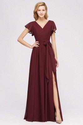 elegant A-line Chiffon V-Neck Short-Sleeves Floor-Length Bridesmaid Dresses with Bow Sash_1