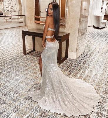 Charming Sweetheart Sleeveless Mermaid Front Split Prom Dress_8