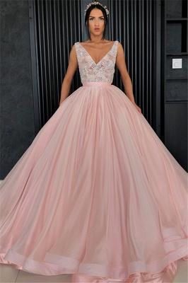 Charming Appliques V-Neck Sleeveless Prom Dress_1