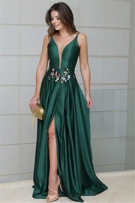 Deep V-Neck Spaghetti Straps Sleeveless Side-Slit Sexy A-line Prom Dress