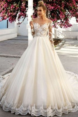 A-Line Tulle Appliques Off-the-Shoulder Long-Sleeves Wedding Dress BC0756