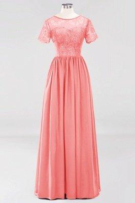 A-line Chiffon Lace Jewel Short-Sleeves Floor-length Bridesmaid Dress_7