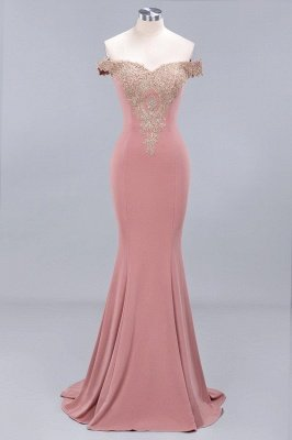 Elegant Mermaid Off-The-Shoulder Floor-Length Mermaid Appliques Zipper Prom Dress_1