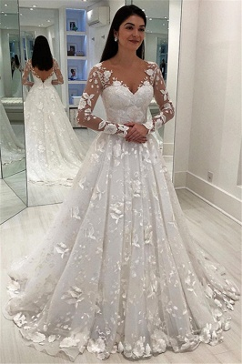 A-Line Tulle Appliques V-Neck Long-Sleeves Wedding Dress