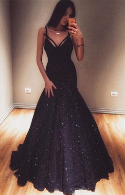 Unique Mermaid Spaghetti-Straps Sleeveless Long Prom Dress