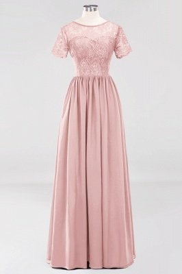 A-line Chiffon Lace Jewel Short-Sleeves Floor-length Bridesmaid Dress_6
