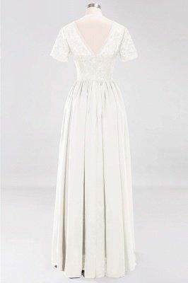 A-line Chiffon Lace Jewel Short-Sleeves Floor-length Bridesmaid Dress_2