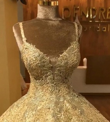 Elegant Straps Sequins Wedding Dresses | Lace Sleeveless Ball Bridal Gowns_2