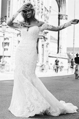 Mermaid Tulle Lace Appliques Sexy Off The Shoulder Long Sleeve Wedding Dresses_4