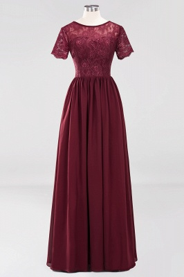A-line Chiffon Lace Jewel Short-Sleeves Floor-length Bridesmaid Dress_10