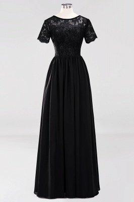 A-line Chiffon Lace Jewel Short-Sleeves Floor-length Bridesmaid Dress_28