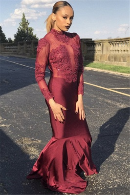 Unique Long Sleeves High Neck Mermaid Prom Dress_1