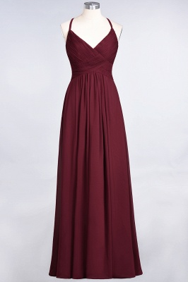 Elegant Princess Chiffon Spaghetti-Straps V-Neck Sleeveless Floor-Length Bridesmaid Dress with Ruffles_35