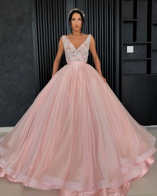Charming Appliques V-Neck Sleeveless Prom Dress_4