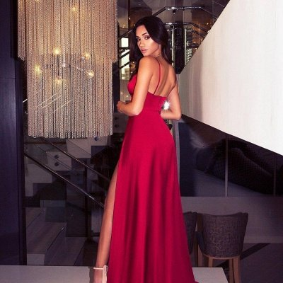 Sexy V-Neck Spaghetti Straps A-Line Front Split Prom Dress_4