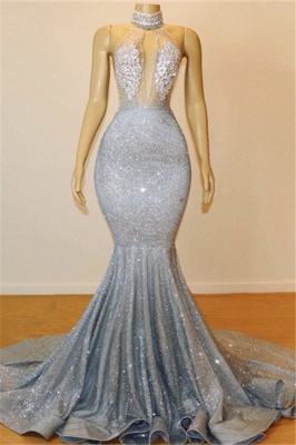 Silver Beads Sequins Mermaid Halter Sleeveless Floor Length Sexy Prom Dresses Cheap