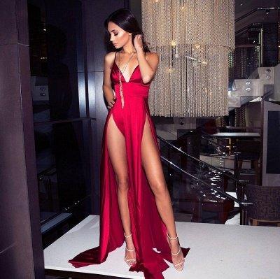 Sexy V-Neck Spaghetti Straps A-Line Front Split Prom Dress_1
