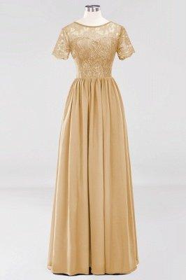 A-line Chiffon Lace Jewel Short-Sleeves Floor-length Bridesmaid Dress_13