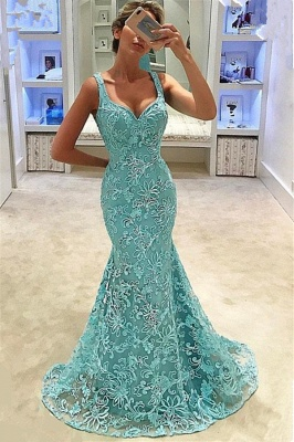 Mermaid Straps Appliques Sleeveless Long Prom Dress
