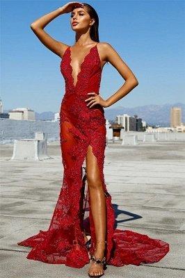 Sheath Tulle Lace Deep-V-Neck Spaghetti-Straps Backless Prom Dress_1