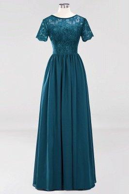 A-line Chiffon Lace Jewel Short-Sleeves Floor-length Bridesmaid Dress_26