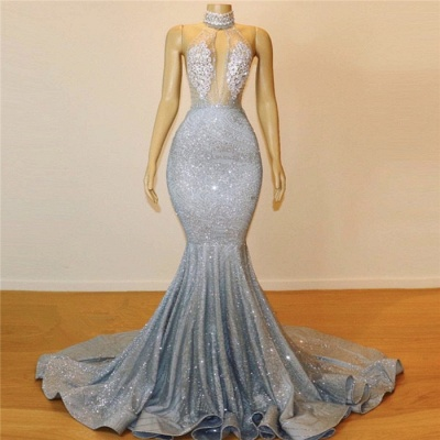 Silver Beads Sequins Mermaid Halter Sleeveless Floor Length Sexy Prom Dresses Cheap_4