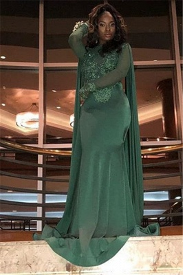 Stylish Round Neck Long Sleeves Appliques Mermaid Prom Dress BC0969_5