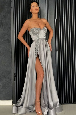 Sexy A-Line Strapless Front-Slipt Prom Dress