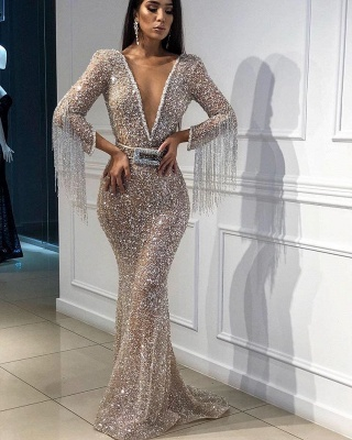 Sexy Mermaid Tulle Sequins Deep V-Neck 3/4 Sleeves Floor-Length Prom Dress with Tassels_4