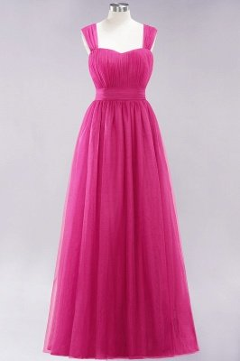 Chiffon Sweetheart Straps Sleeves Floor-Length Bridesmaid Dresses with Ruffles_9