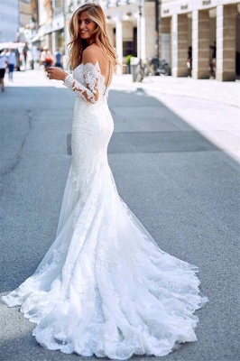 Mermaid Tulle Lace Appliques Sexy Off The Shoulder Long Sleeve Wedding Dresses_3
