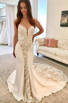 Elegant Spaghetti Straps Sleeveless Appliques Mermaid Prom Dress_1