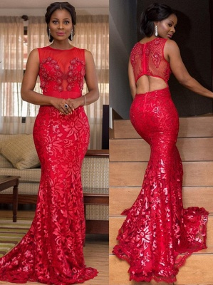 Appliques Jewel Sleeveless Mermaid Prom Dress