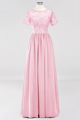 A-line Chiffon Lace Jewel Short-Sleeves Floor-length Bridesmaid Dress_4