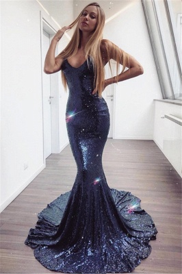 Mermaid Spaghetti-Straps Sleeveless Long Prom Dress
