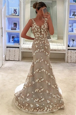 Mermaid Appliques Sleeveless Straps V-Neck Long Prom Dress