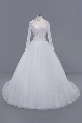 Elegant Ball Gown Tulle Lace High-Neck Long-Sleeves Floor Length Wedding Dress