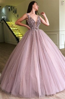 Tulle Beading Deep-V-Neck Straps Sleeveless Prom Dress
