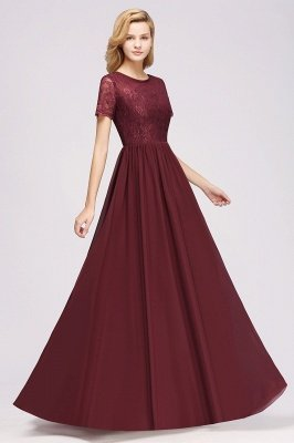 A-line Chiffon Lace Jewel Short-Sleeves Floor-length Bridesmaid Dress_37