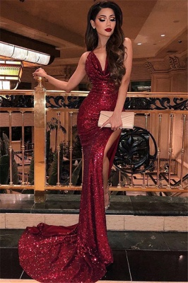Mermaid Halter Sleeveless Front-Slipt Long Prom Dress