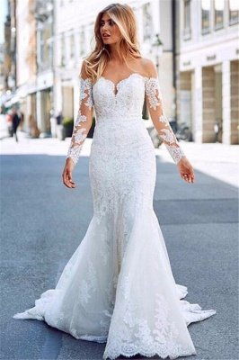 Mermaid Tulle Lace Appliques Sexy Off The Shoulder Long Sleeve Wedding Dresses_1